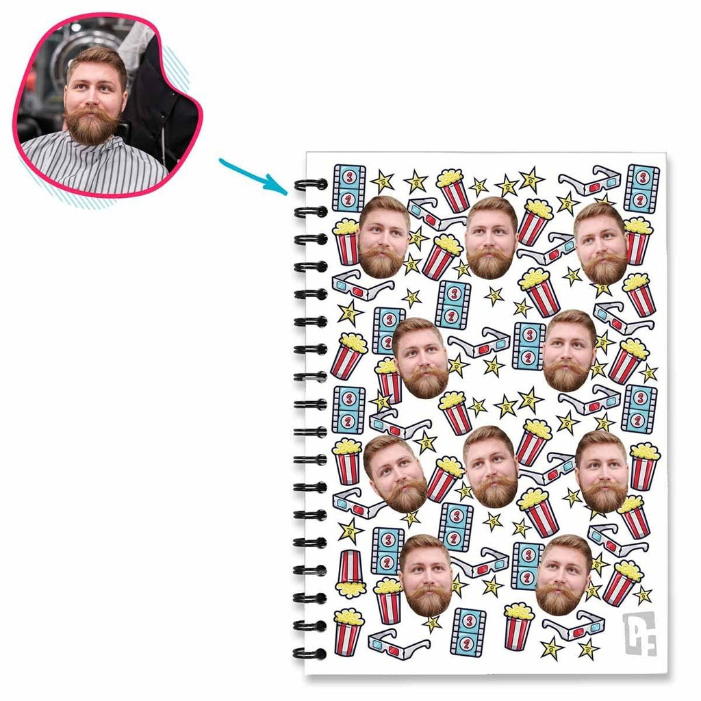white Movie Notebook personalized with photo of face printed on them