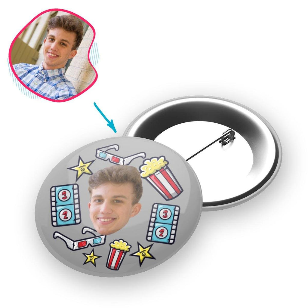 grey Movie pin personalized with photo of face printed on it