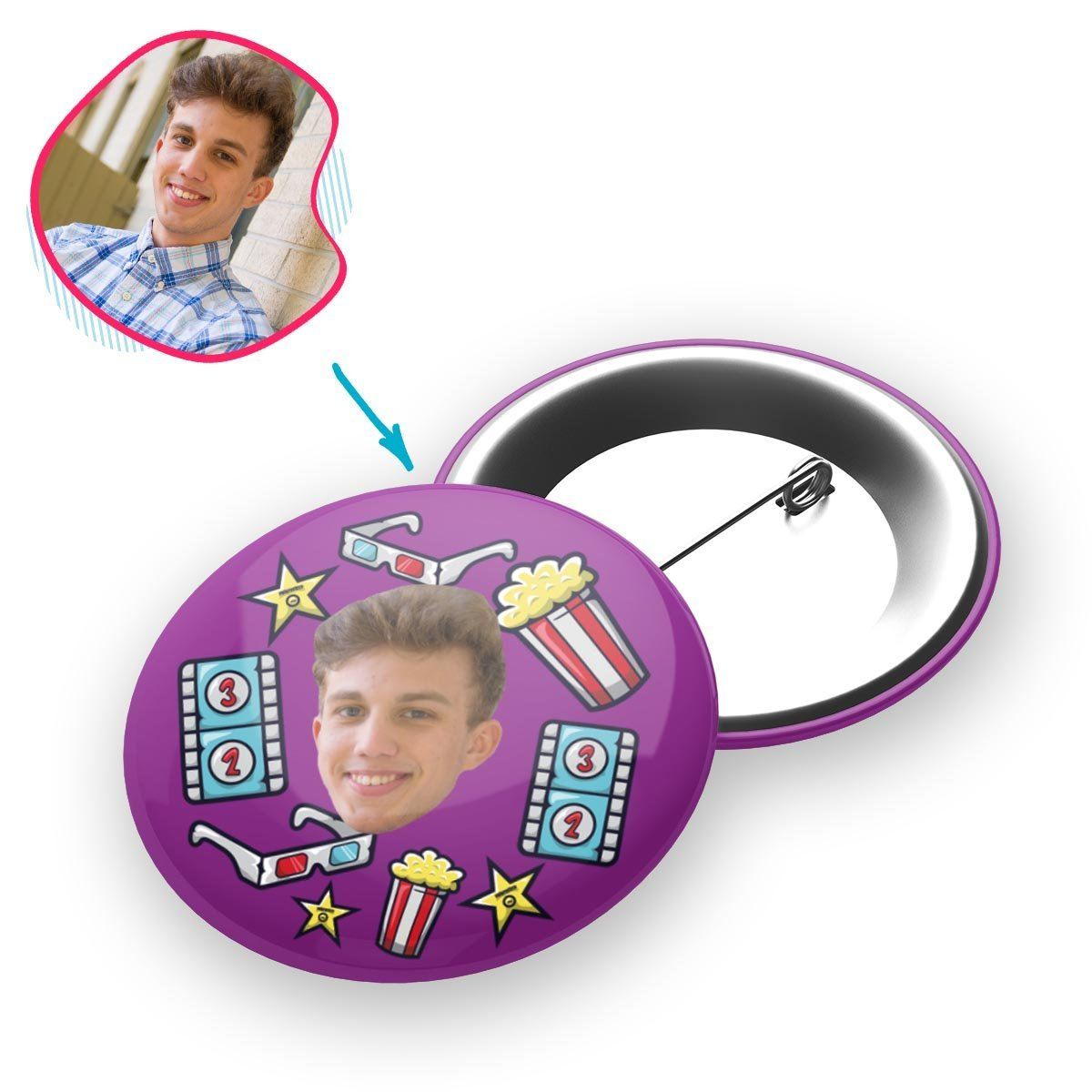 purple Movie pin personalized with photo of face printed on it