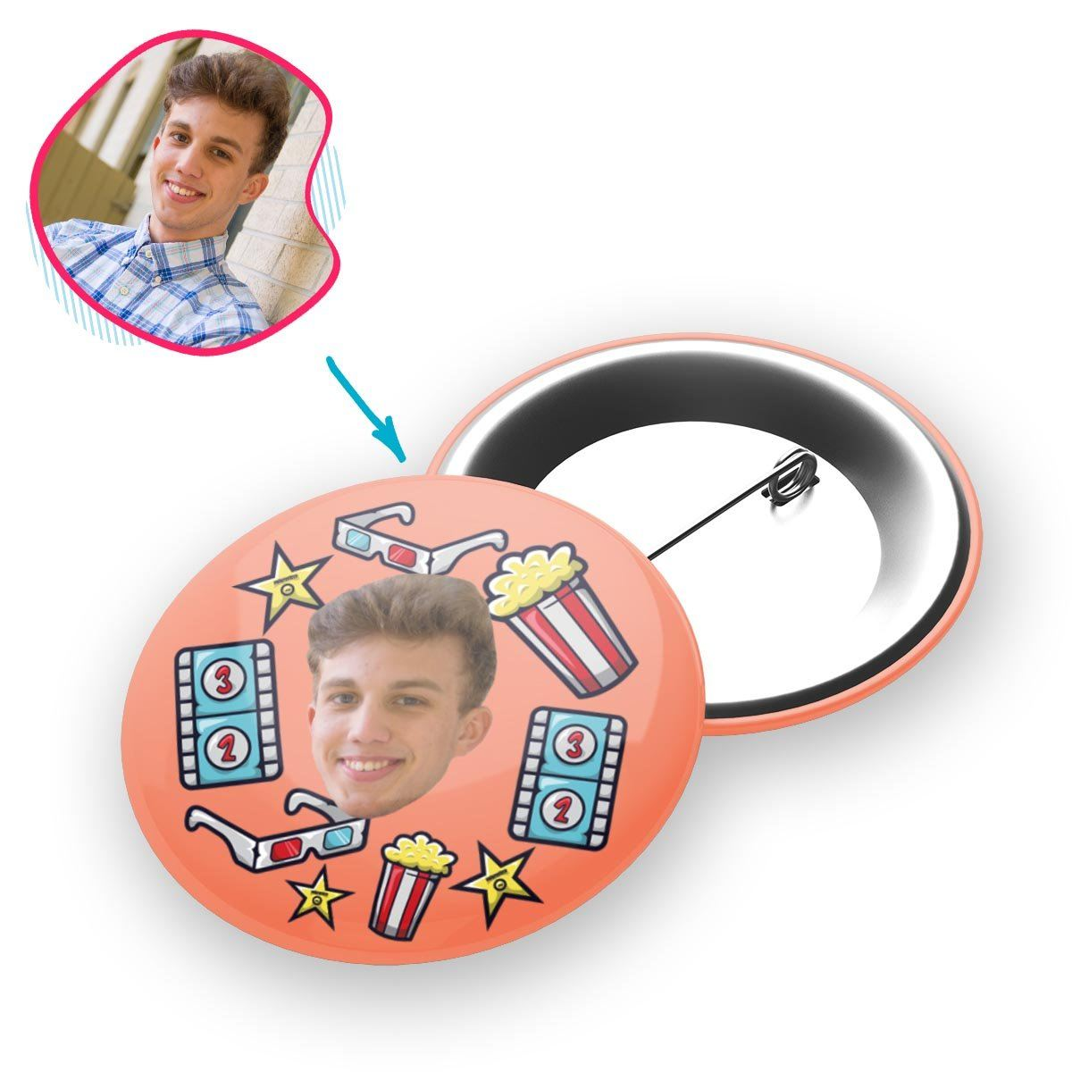 salmon Movie pin personalized with photo of face printed on it