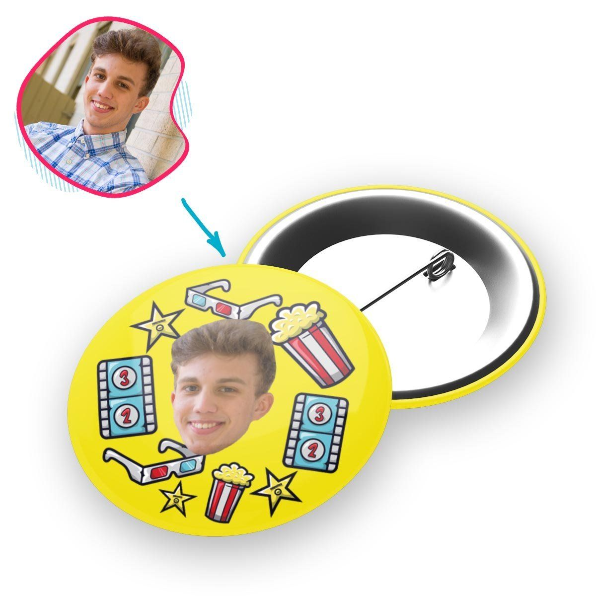 yellow Movie pin personalized with photo of face printed on it