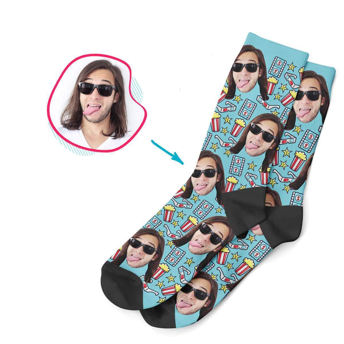 blue Movie socks personalized with photo of face printed on them