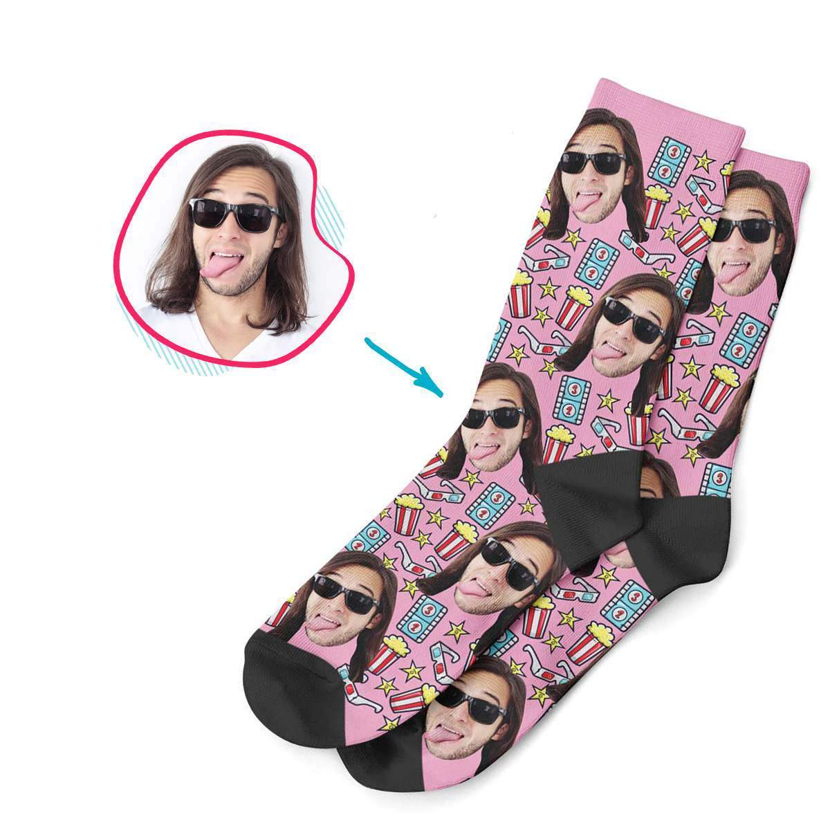 pink Movie socks personalized with photo of face printed on them