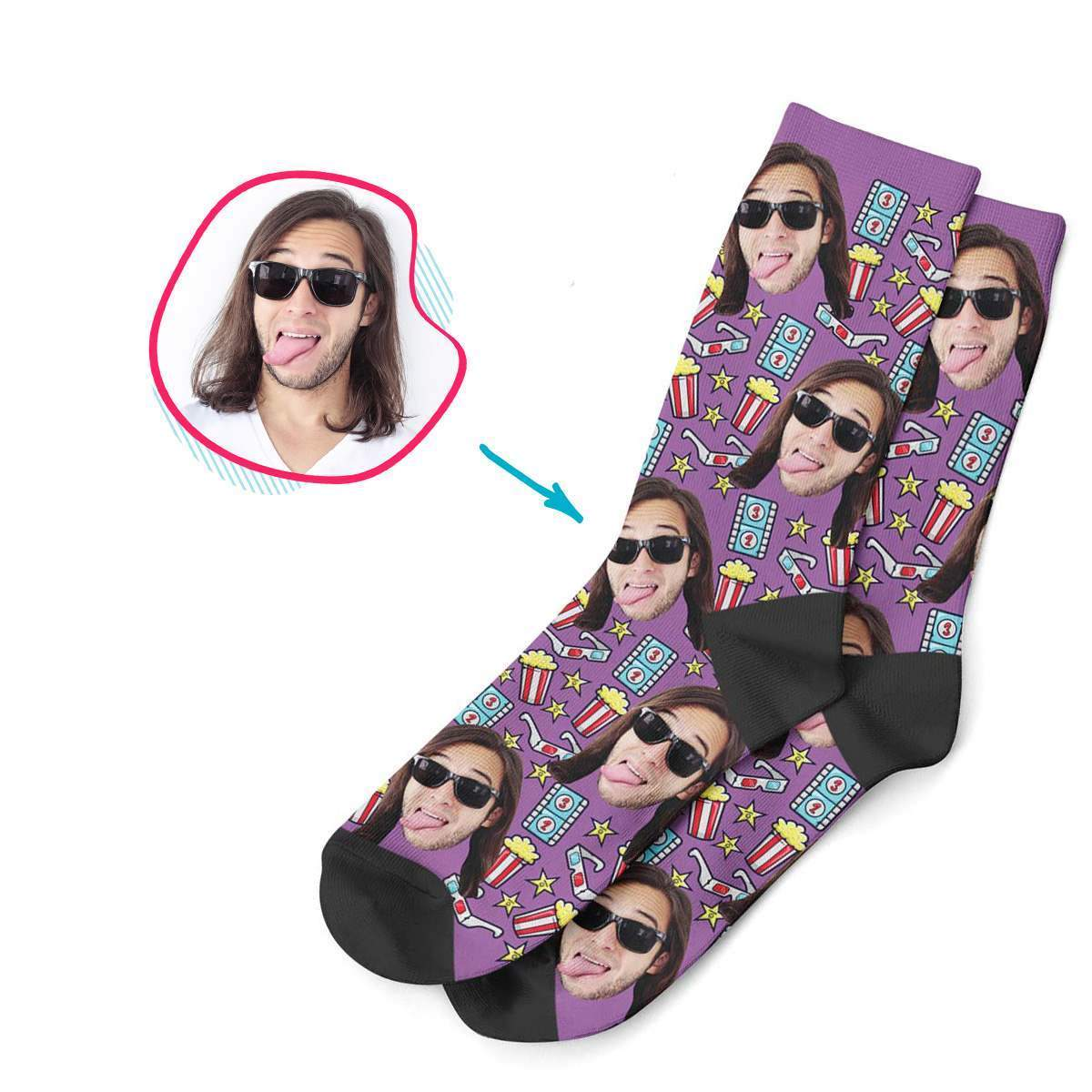 purple Movie socks personalized with photo of face printed on them