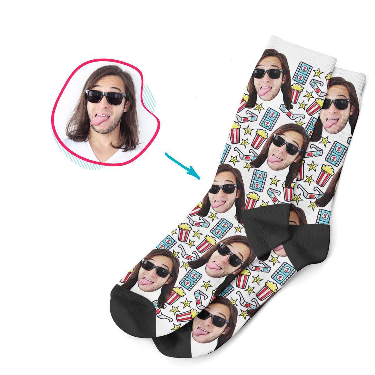 white Movie socks personalized with photo of face printed on them