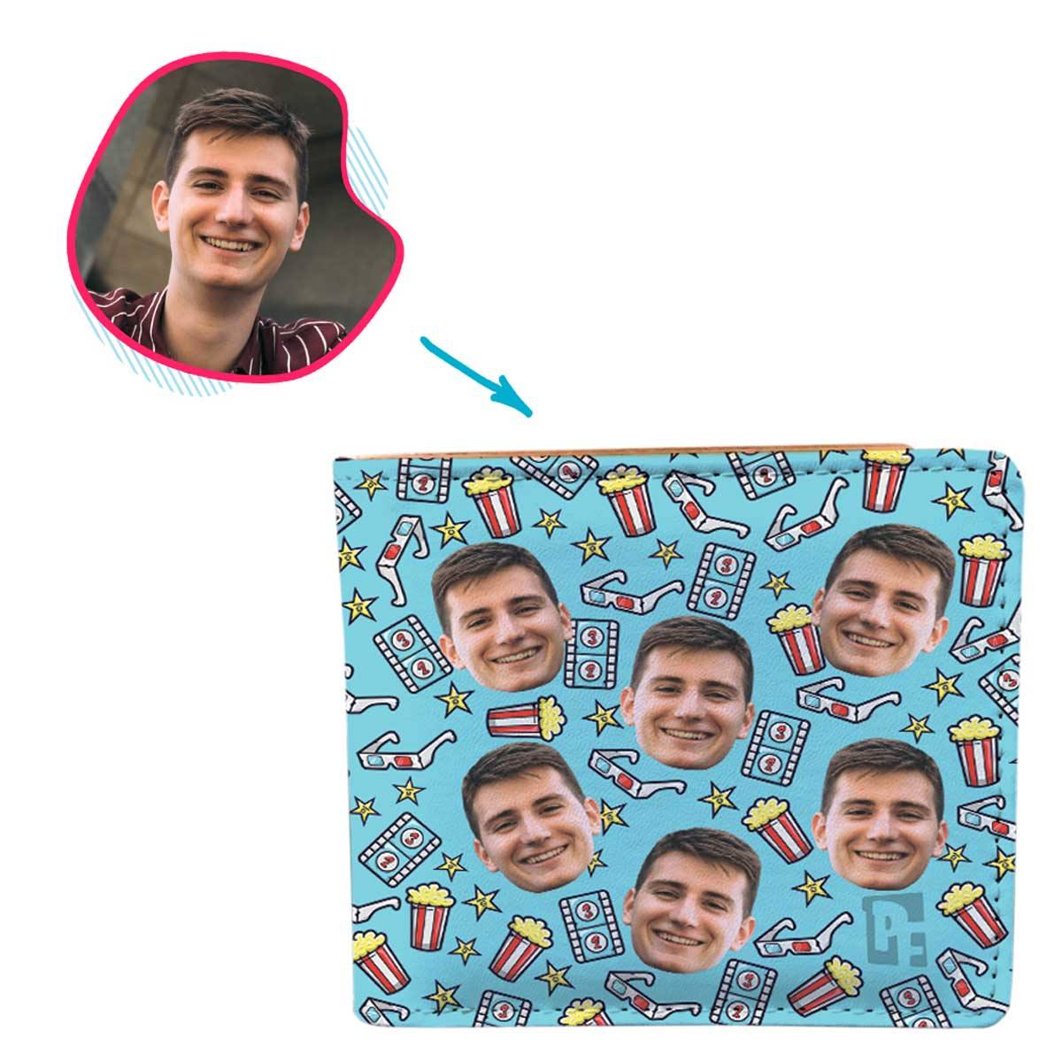 blue Movie wallet personalized with photo of face printed on it