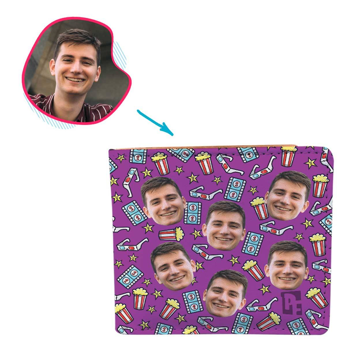 purple Movie wallet personalized with photo of face printed on it