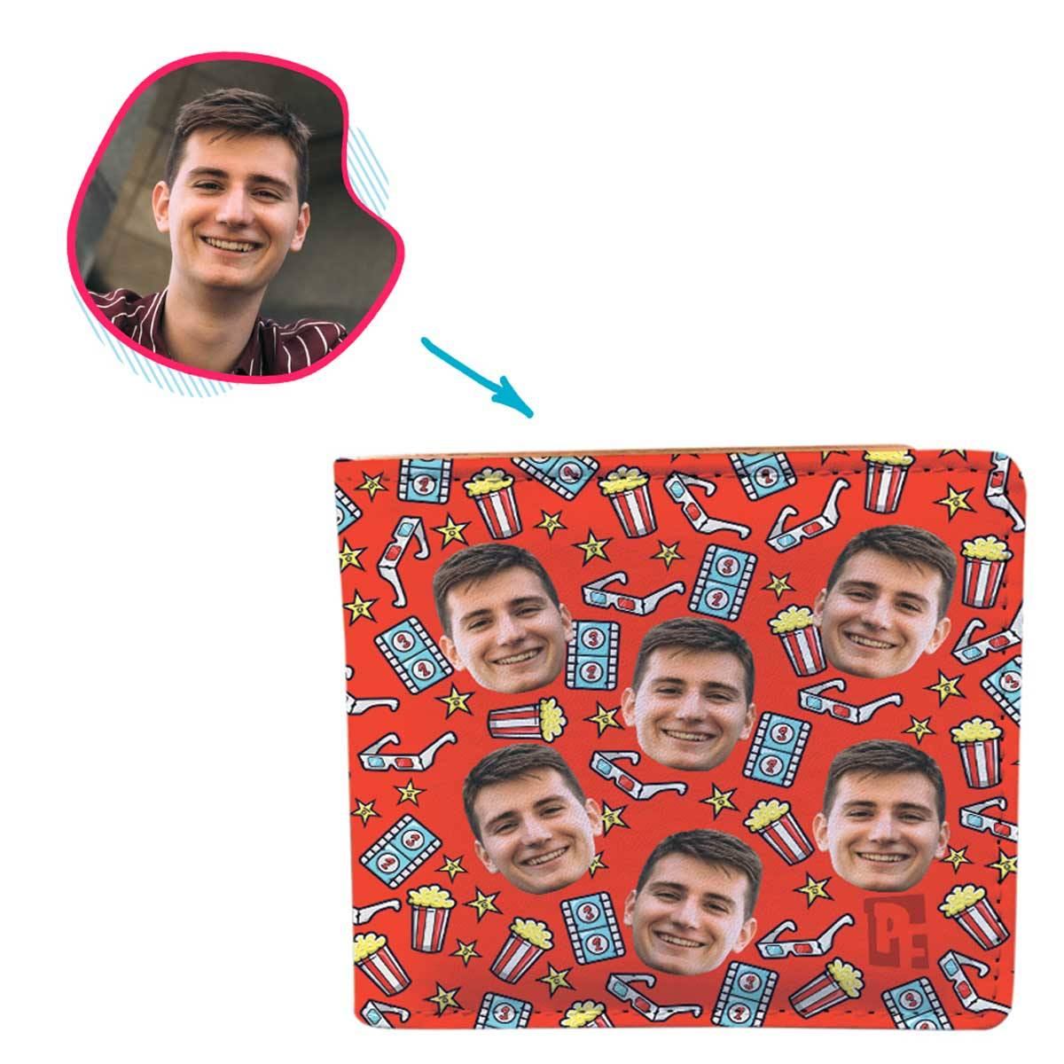 red Movie wallet personalized with photo of face printed on it