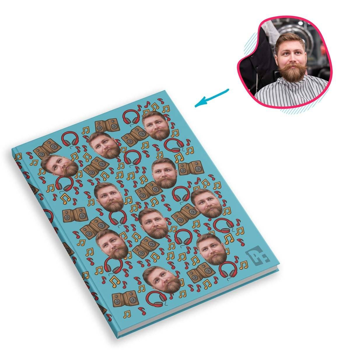 blue Music Notebook personalized with photo of face printed on them