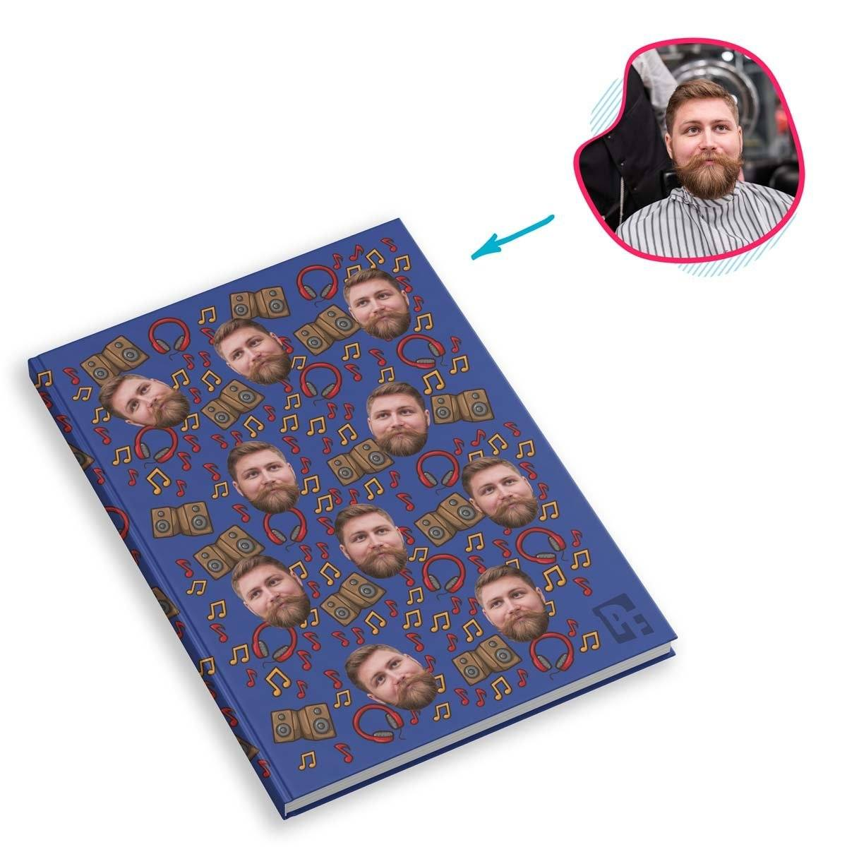 darkblue Music Notebook personalized with photo of face printed on them