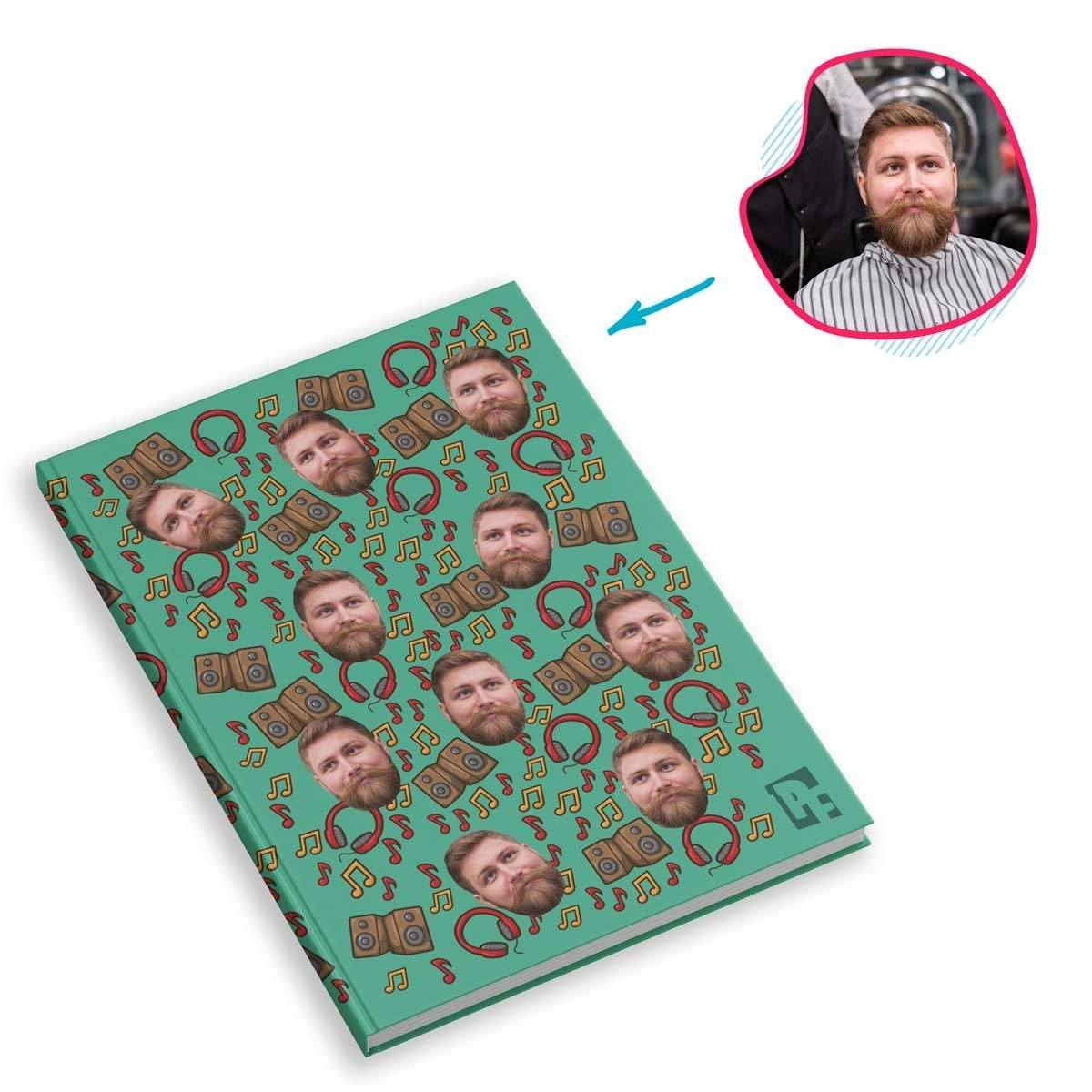 mint Music Notebook personalized with photo of face printed on them