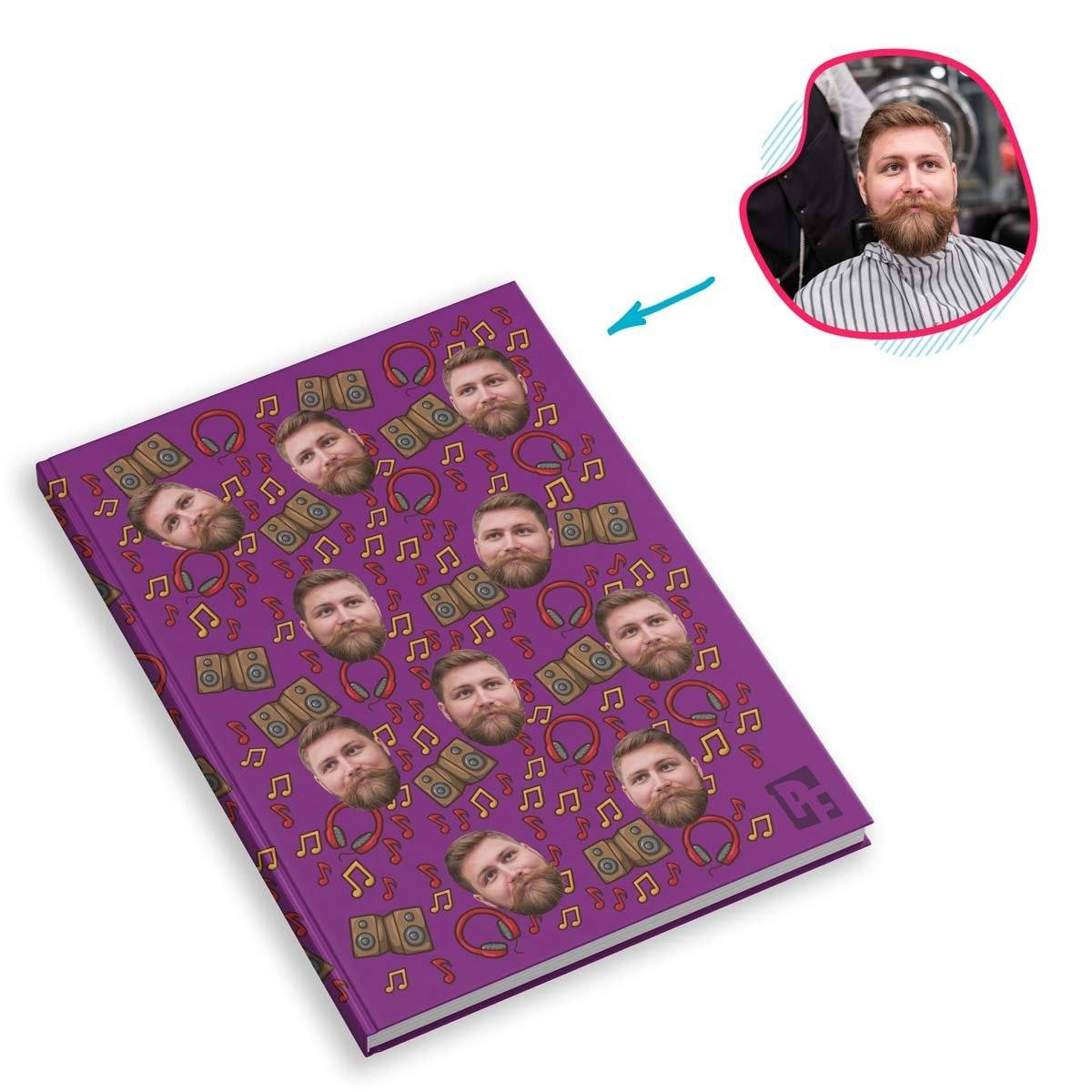 purple Music Notebook personalized with photo of face printed on them