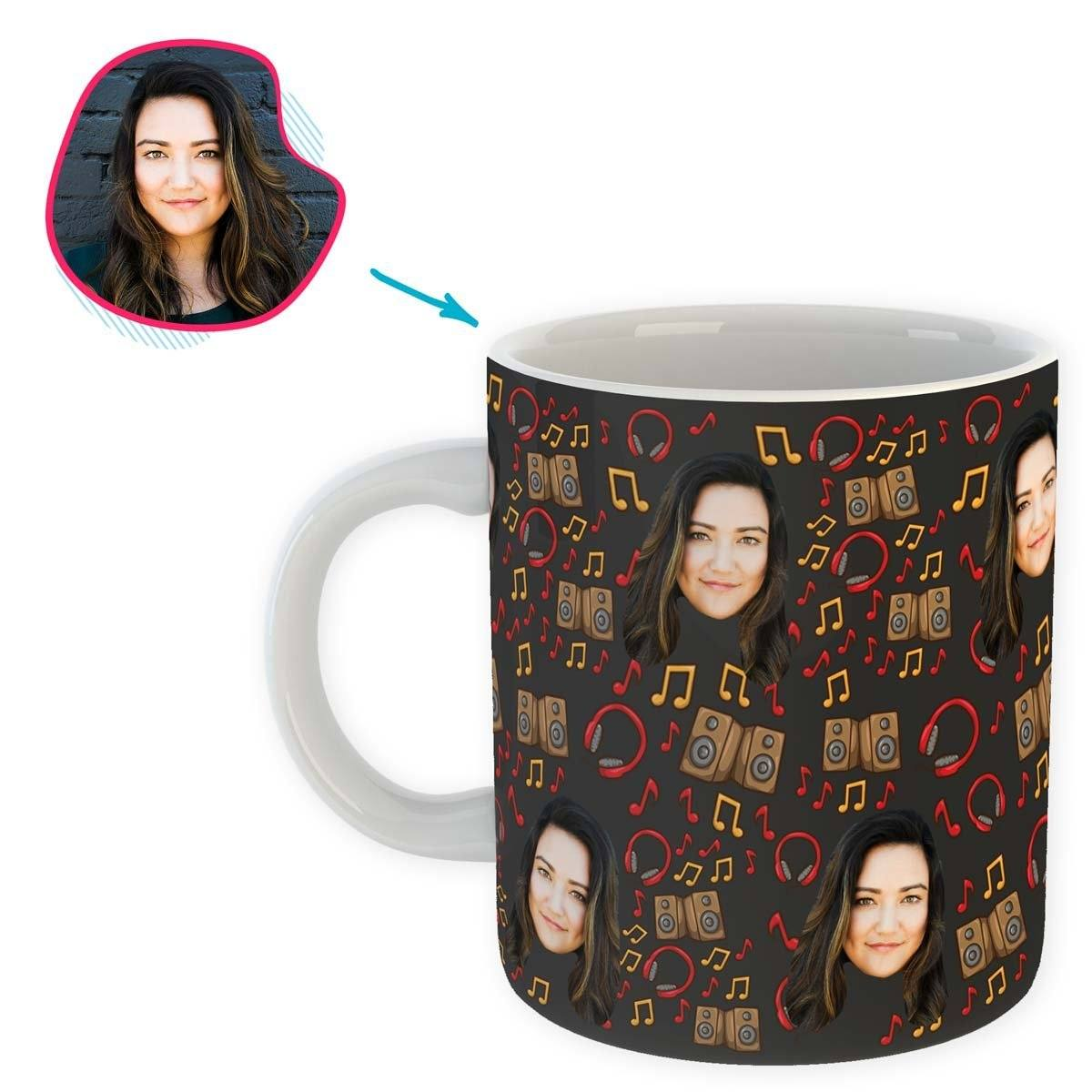 dark Music mug personalized with photo of face printed on it