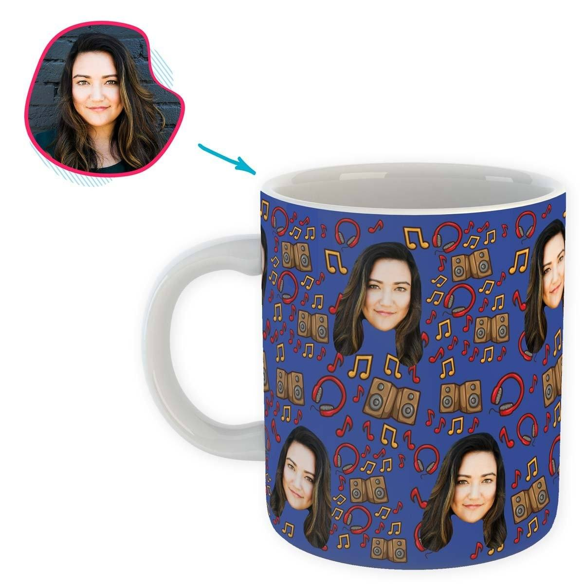 darkblue Music mug personalized with photo of face printed on it