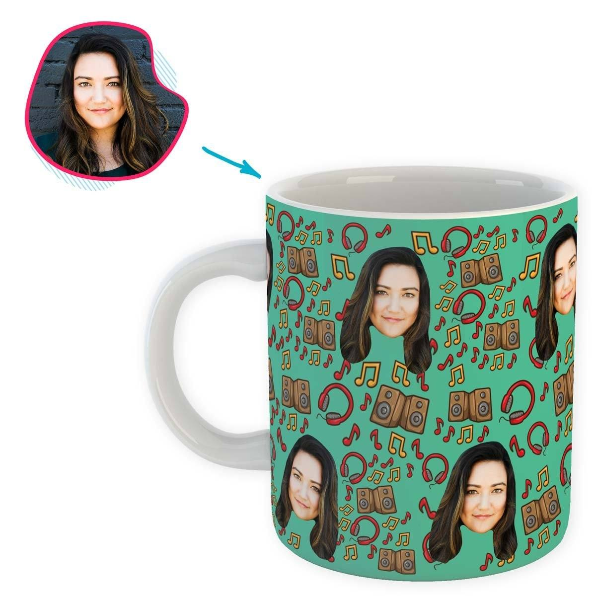 mint Music mug personalized with photo of face printed on it