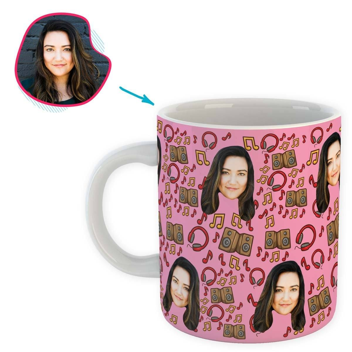 pink Music mug personalized with photo of face printed on it