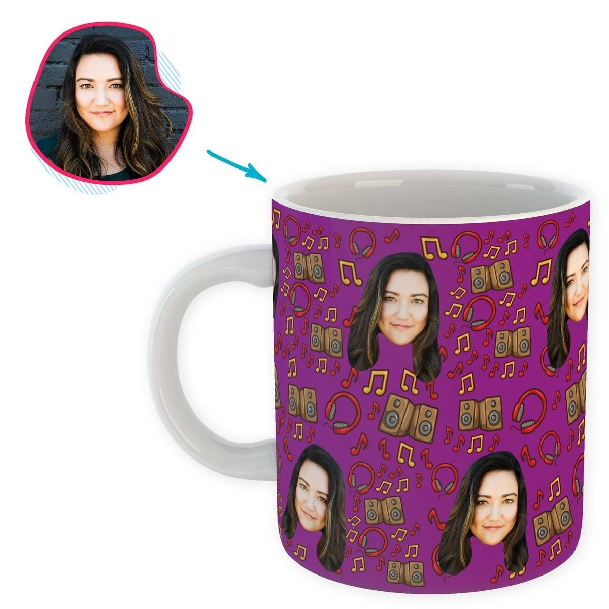 purple Music mug personalized with photo of face printed on it