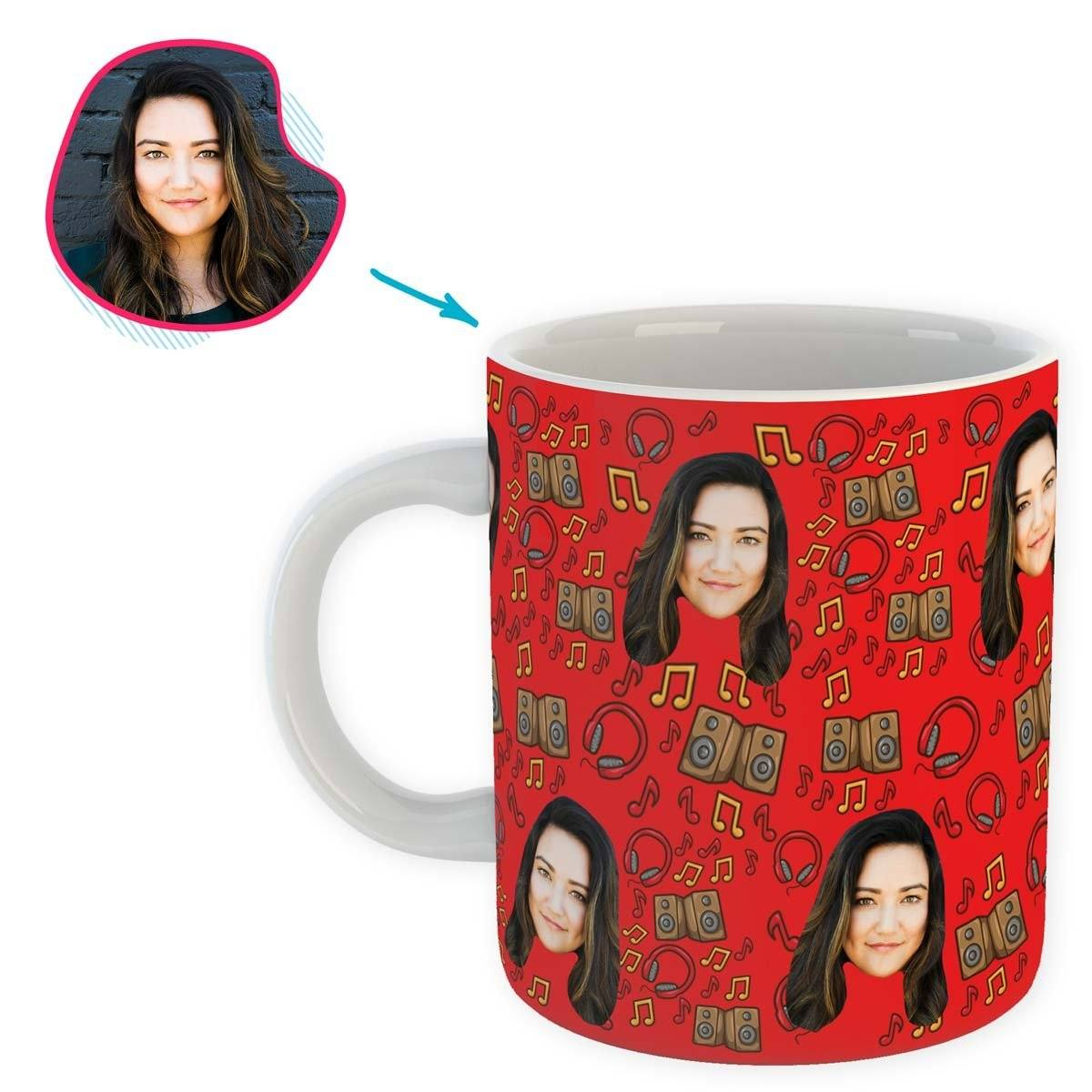 red Music mug personalized with photo of face printed on it