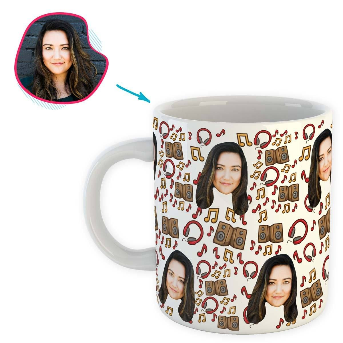 white Music mug personalized with photo of face printed on it