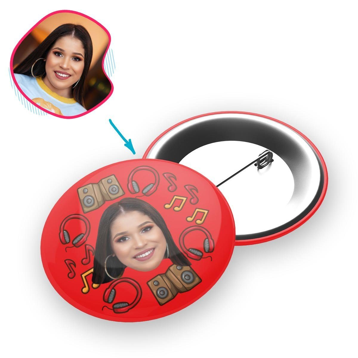 red Music pin personalized with photo of face printed on it
