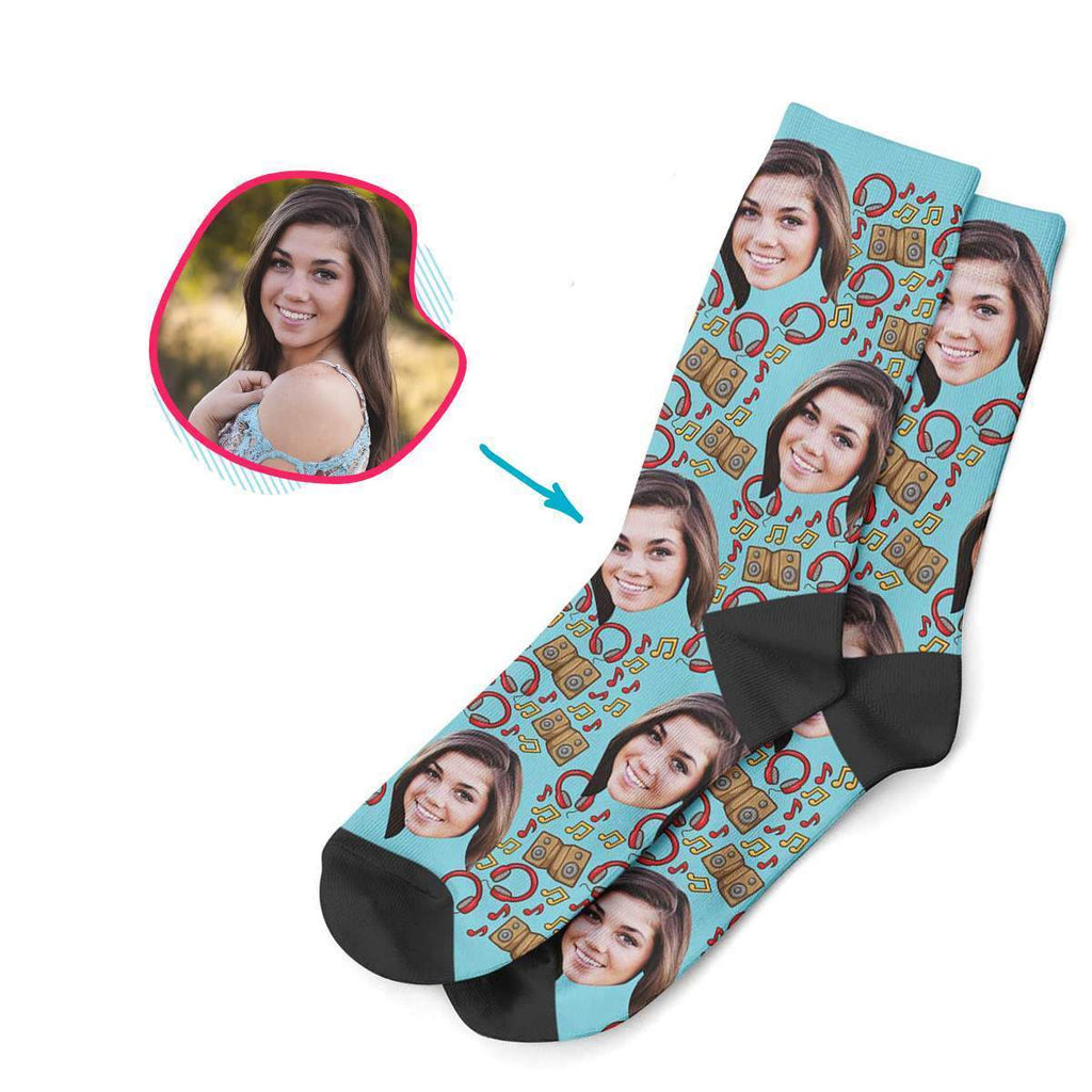 blue Music socks personalized with photo of face printed on them