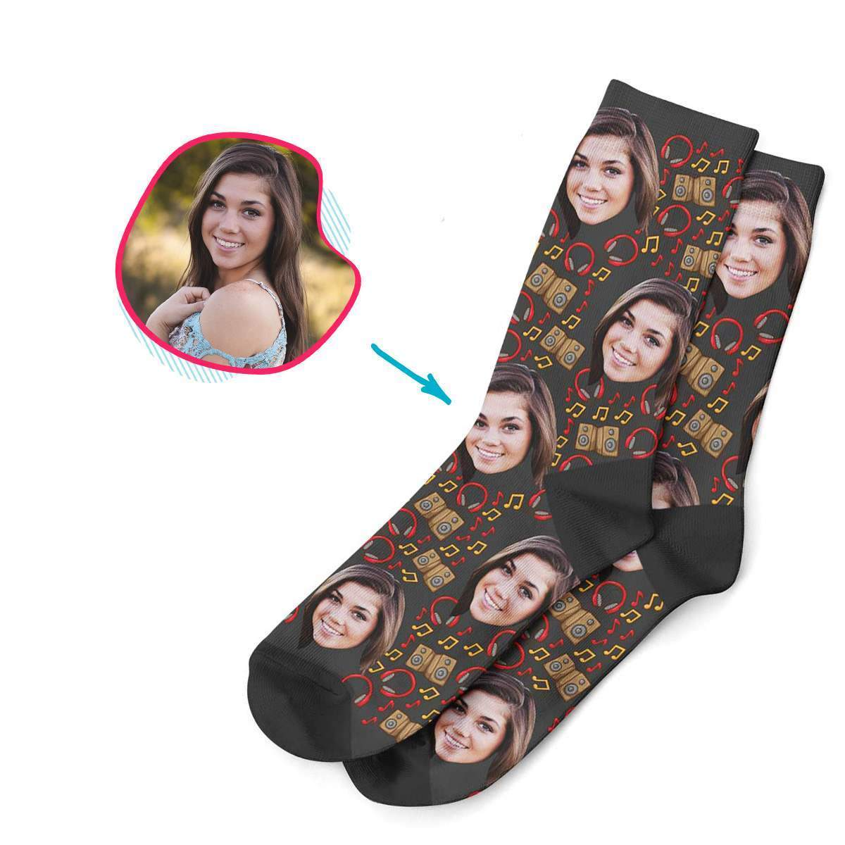 dark Music socks personalized with photo of face printed on them