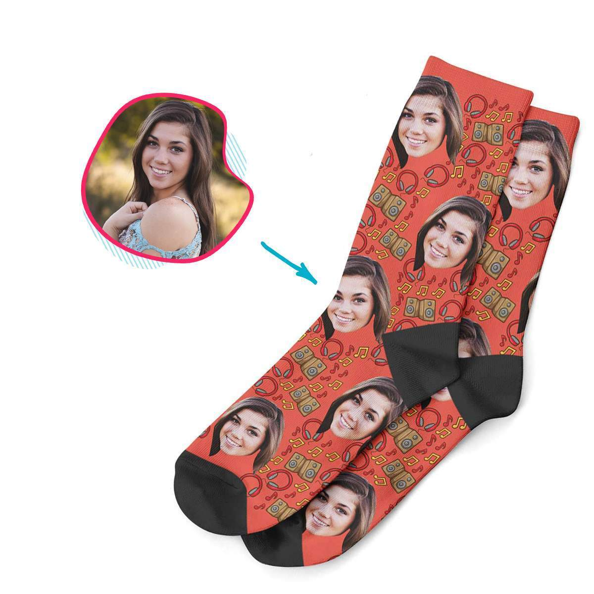 red Music socks personalized with photo of face printed on them