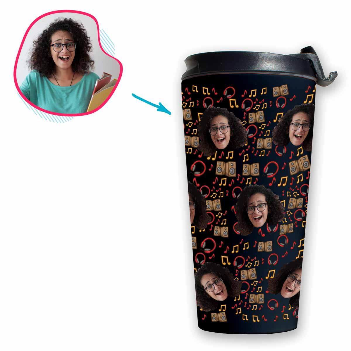 dark Music travel mug personalized with photo of face printed on it