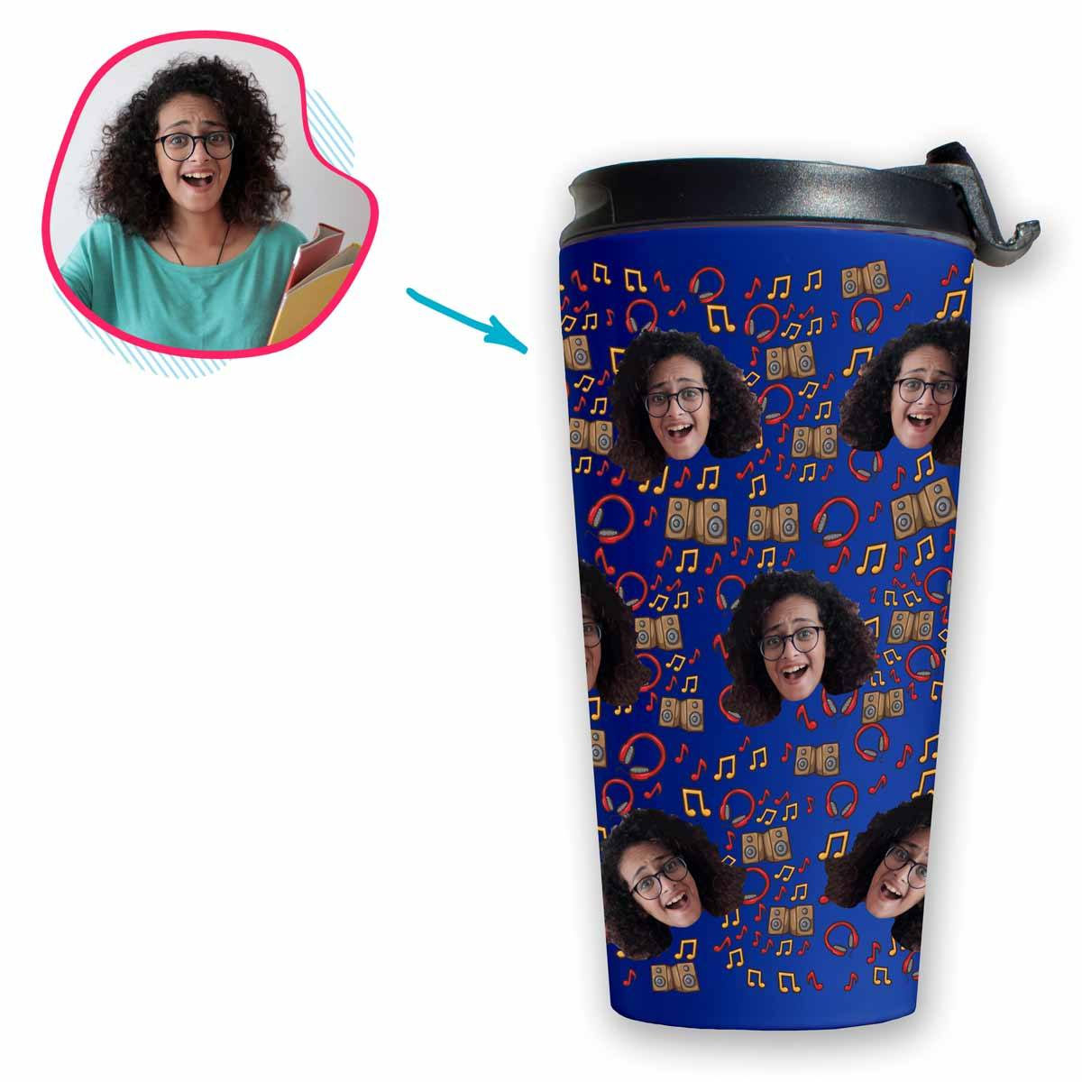 darkblue Music travel mug personalized with photo of face printed on it