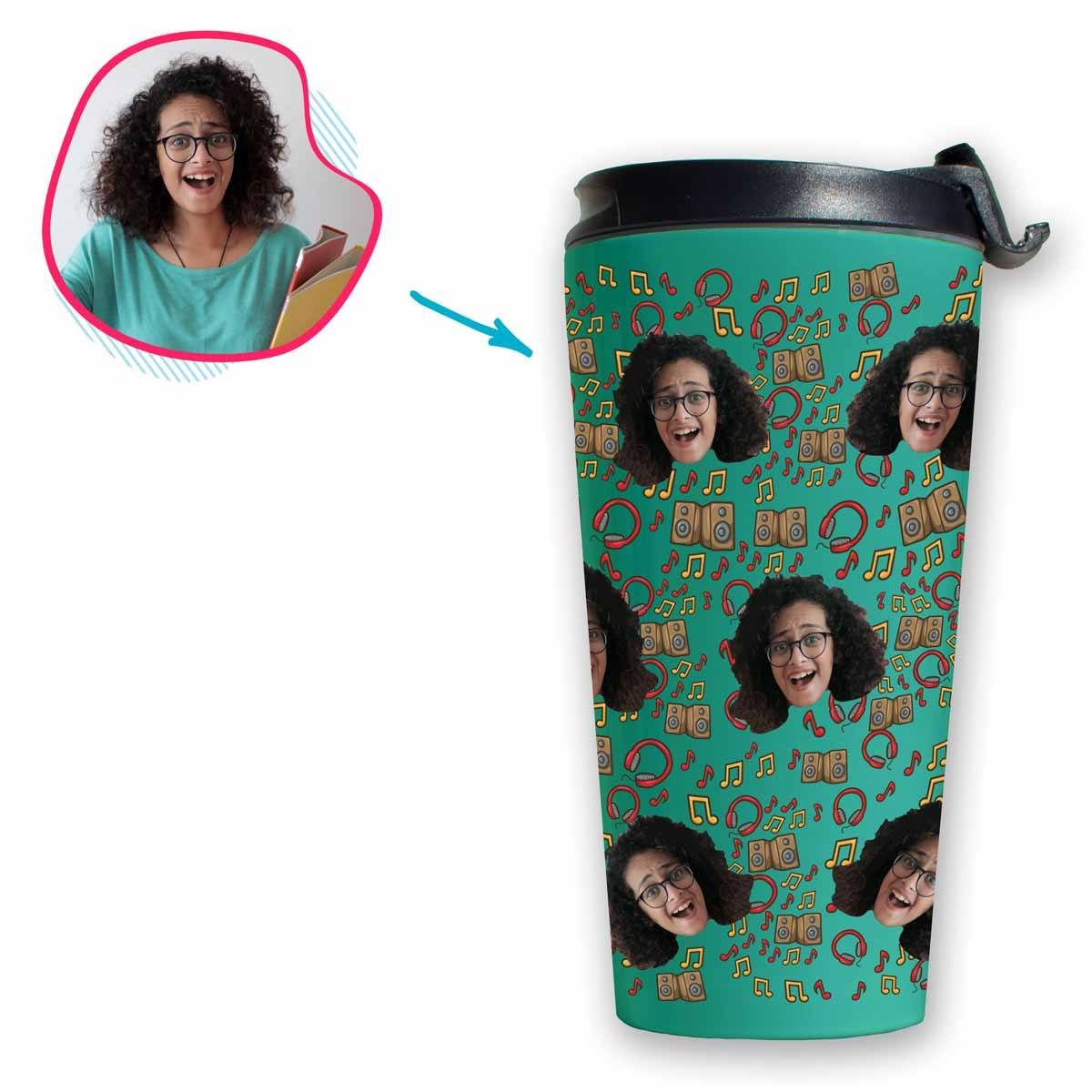 mint Music travel mug personalized with photo of face printed on it