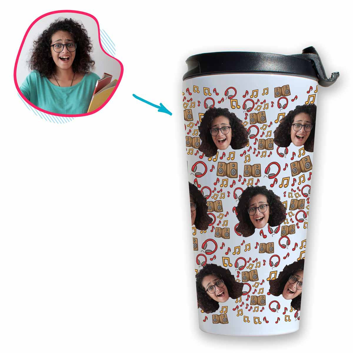 white Music travel mug personalized with photo of face printed on it