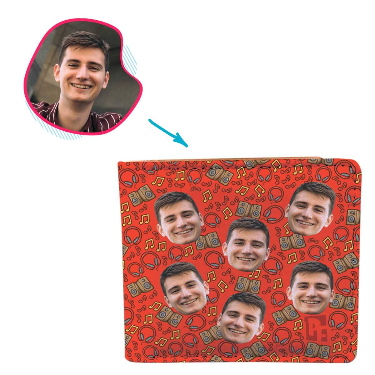 red Music wallet personalized with photo of face printed on it