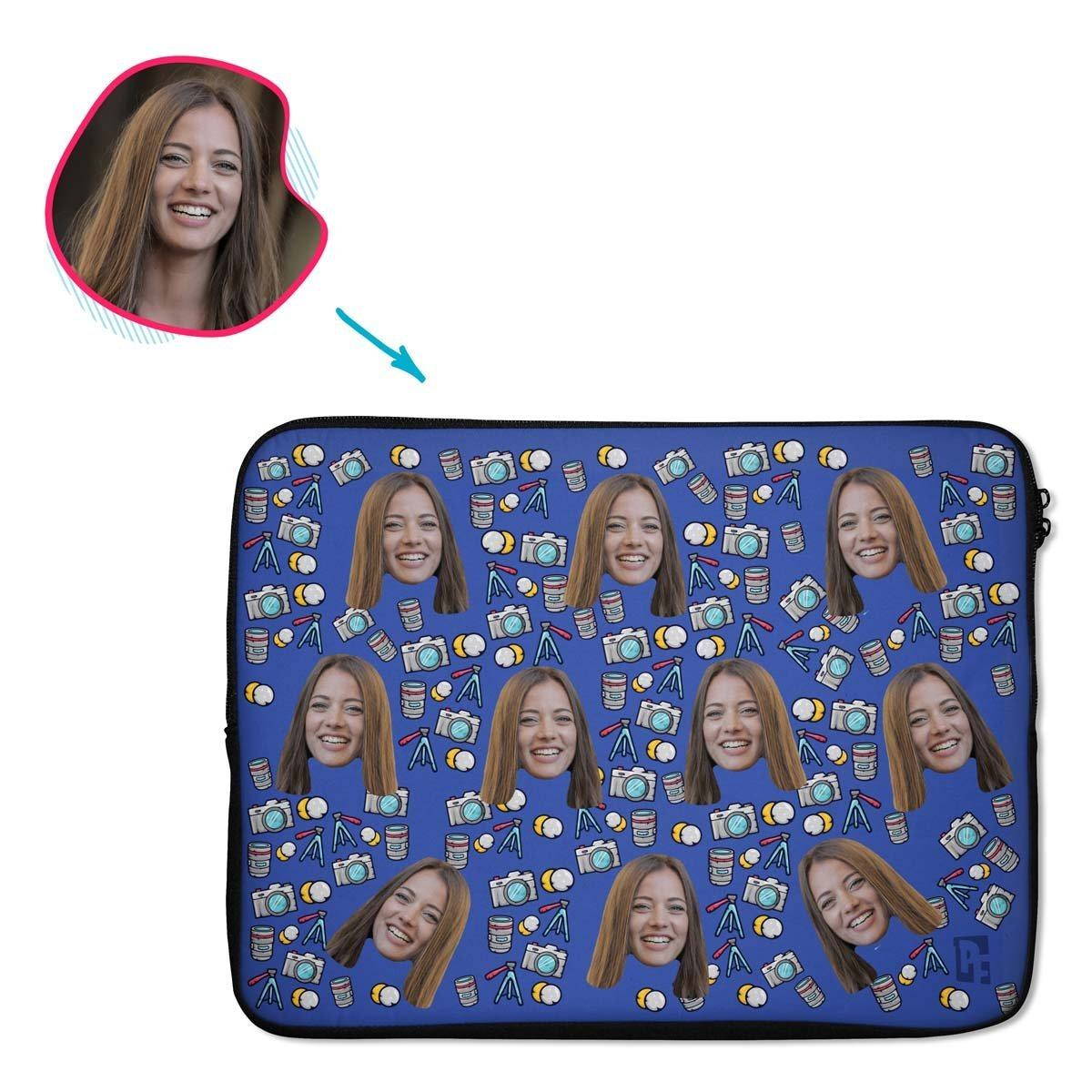 darkblue Photography laptop sleeve personalized with photo of face printed on them