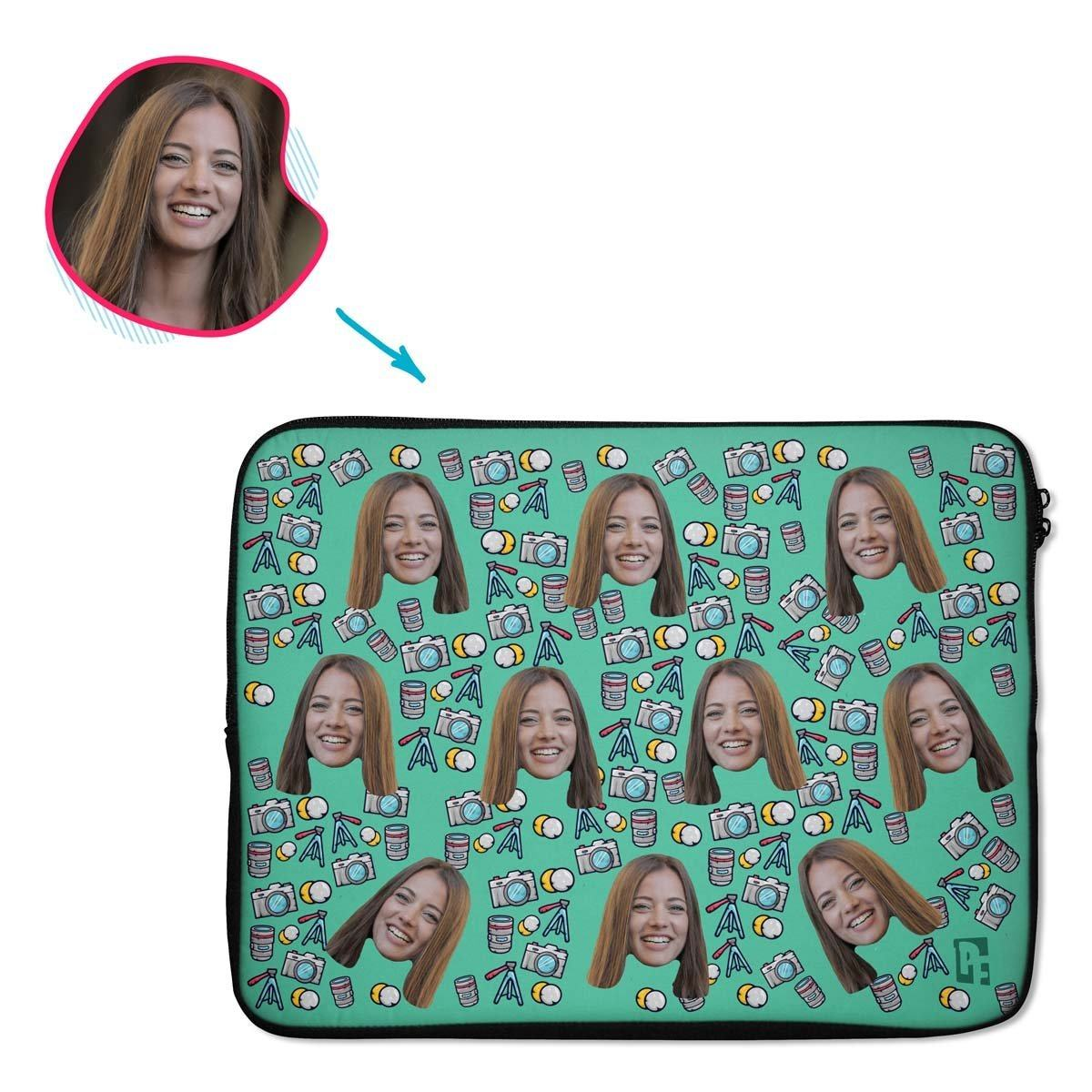 mint Photography laptop sleeve personalized with photo of face printed on them