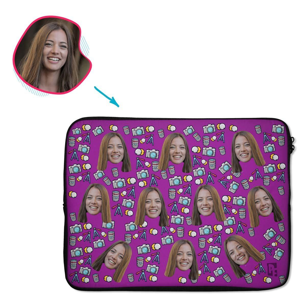 purple Photography laptop sleeve personalized with photo of face printed on them