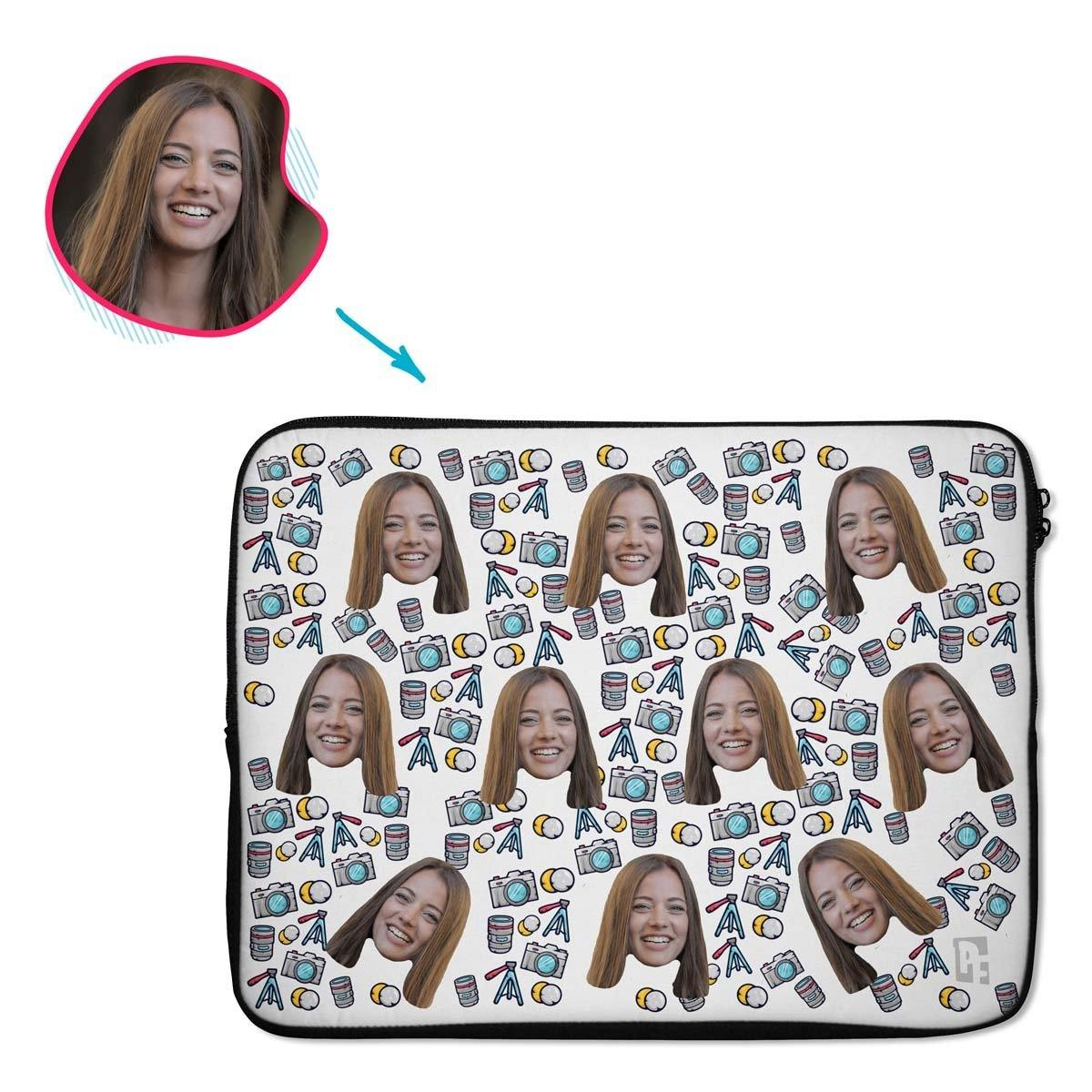 white Photography laptop sleeve personalized with photo of face printed on them