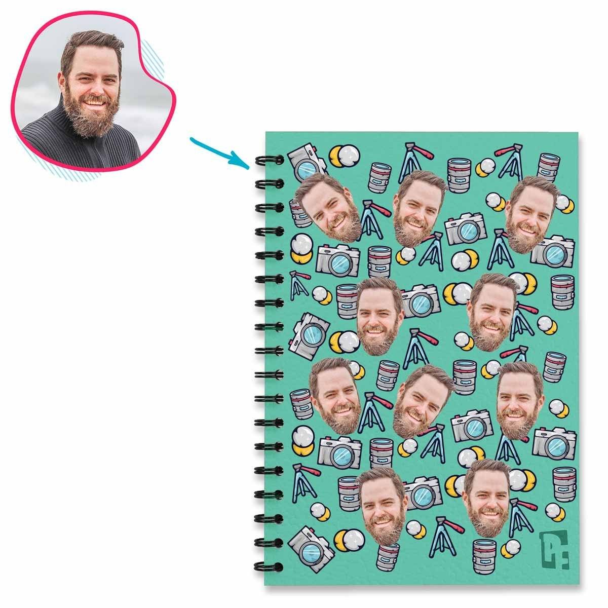 mint Photography Notebook personalized with photo of face printed on them