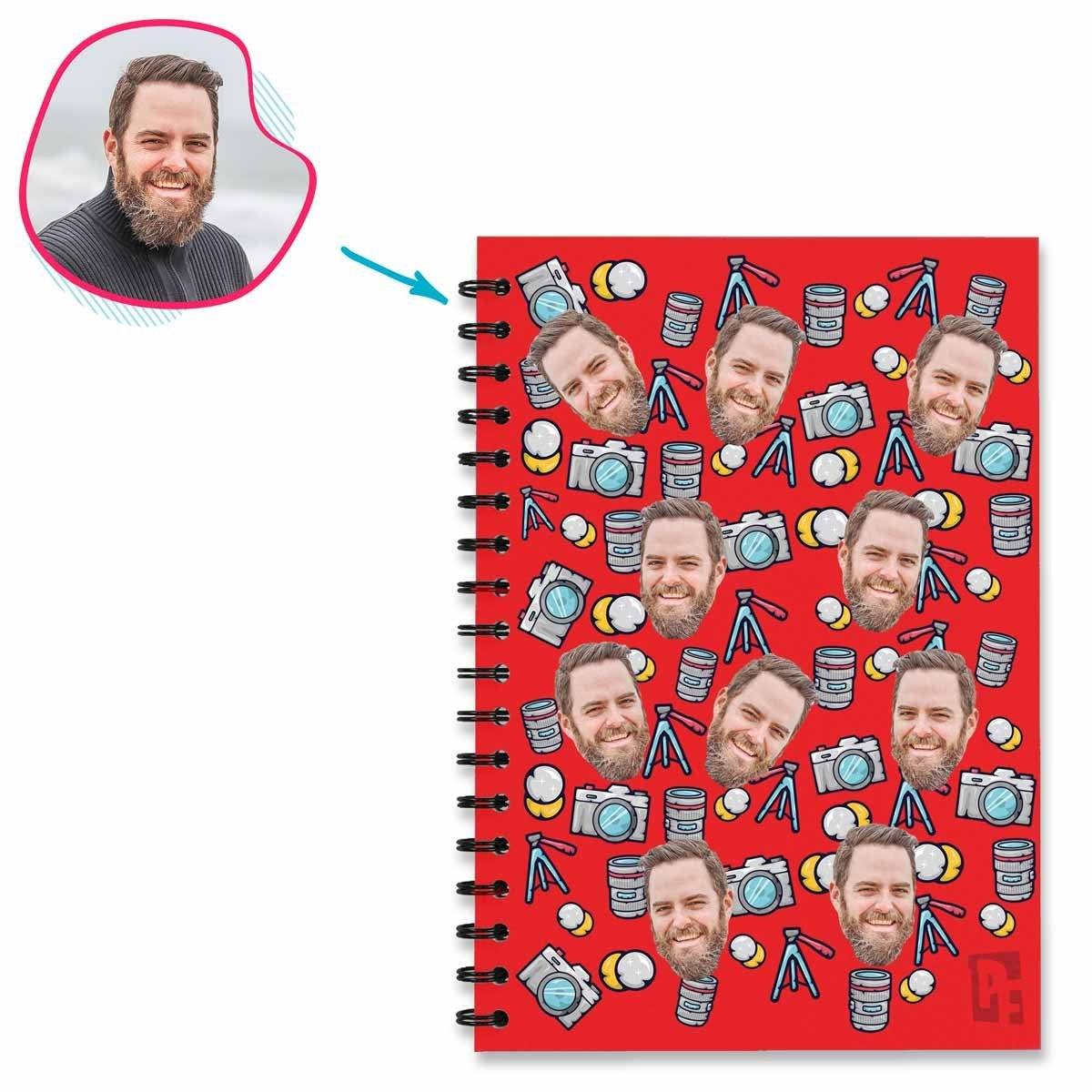red Photography Notebook personalized with photo of face printed on them