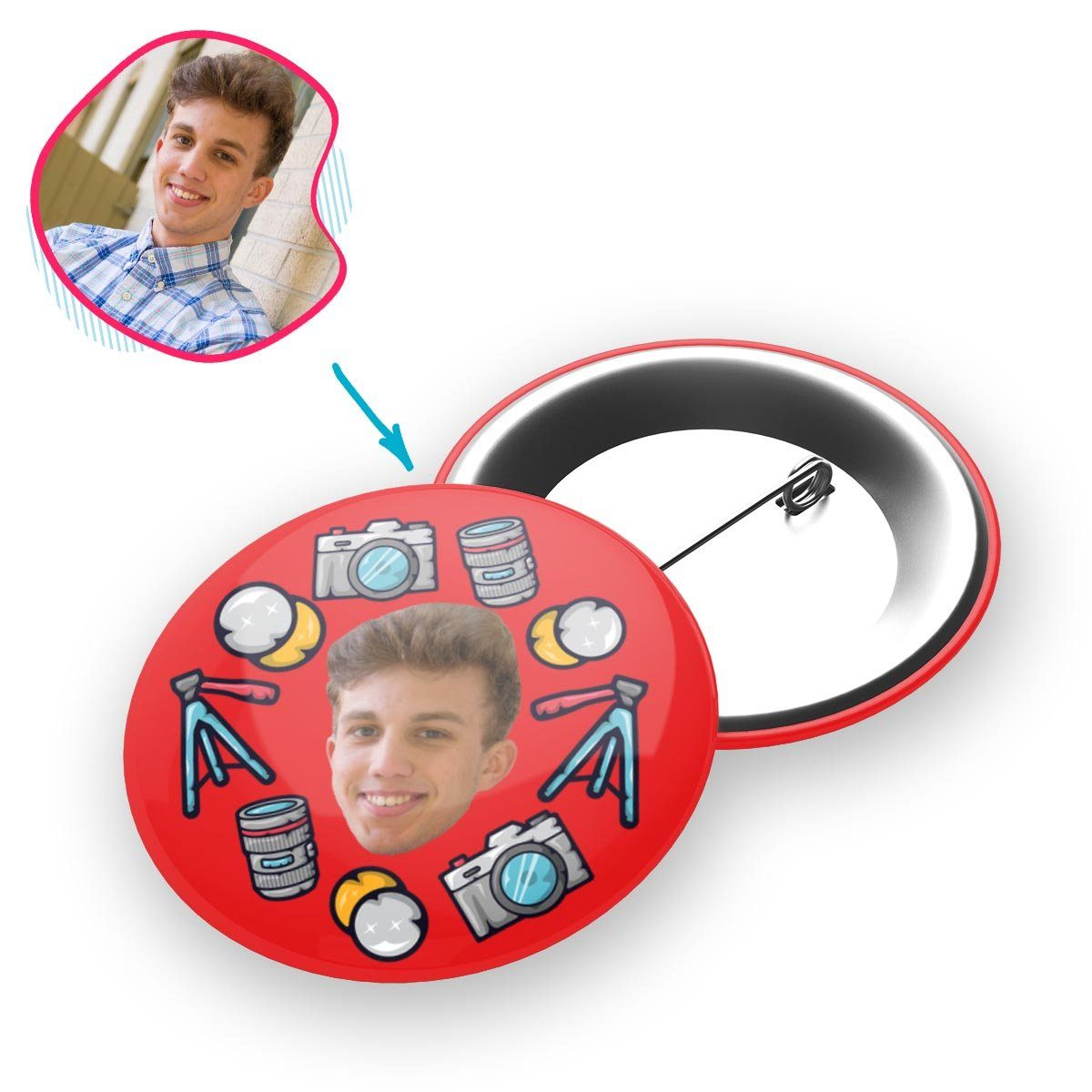 red Photography pin personalized with photo of face printed on it