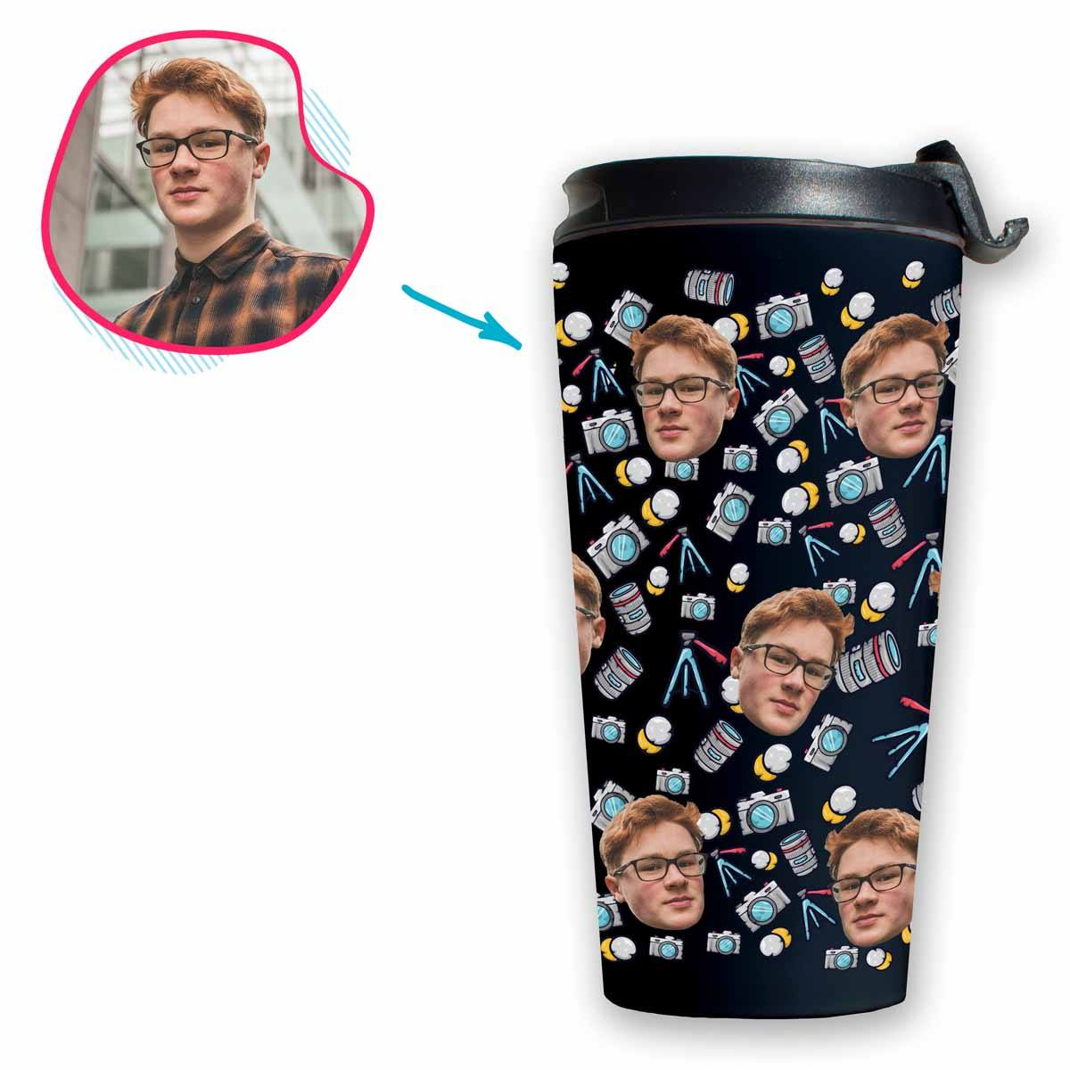 dark Photography travel mug personalized with photo of face printed on it