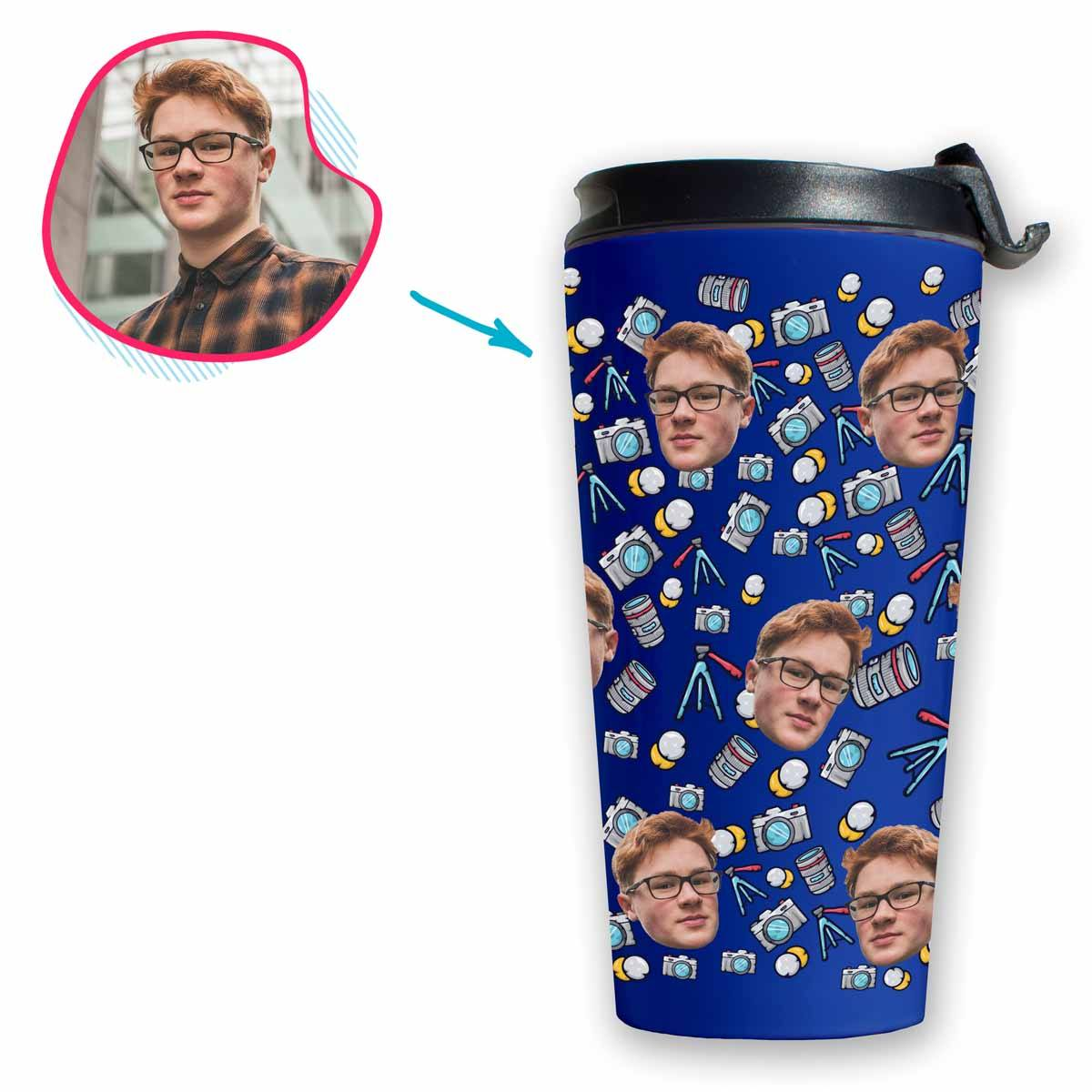 darkblue Photography travel mug personalized with photo of face printed on it