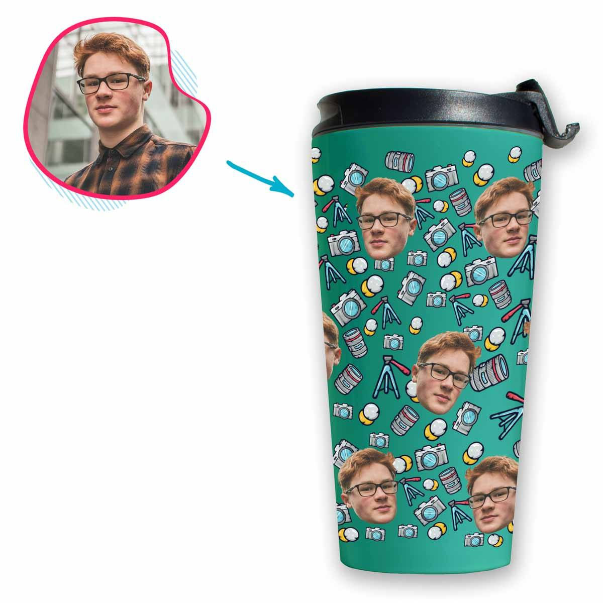 mint Photography travel mug personalized with photo of face printed on it