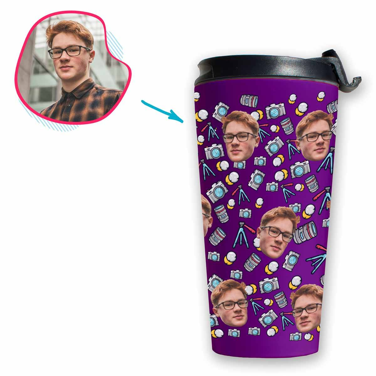 purple Photography travel mug personalized with photo of face printed on it