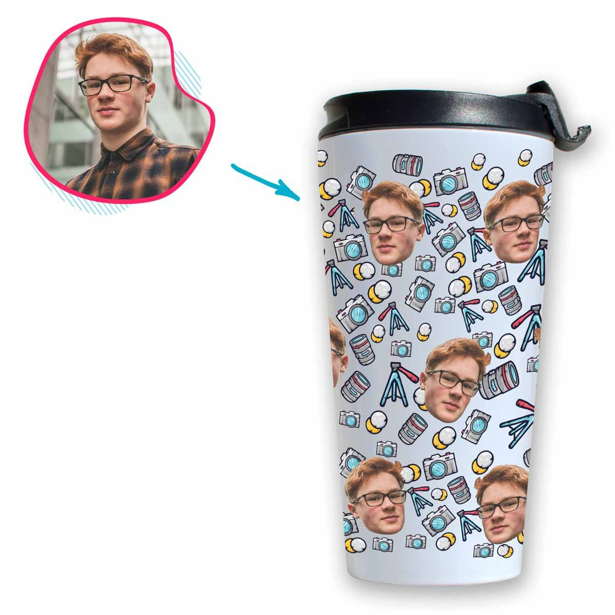 white Photography travel mug personalized with photo of face printed on it