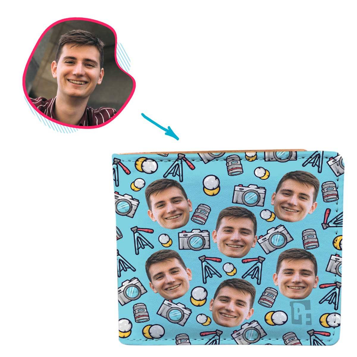 blue Photography wallet personalized with photo of face printed on it