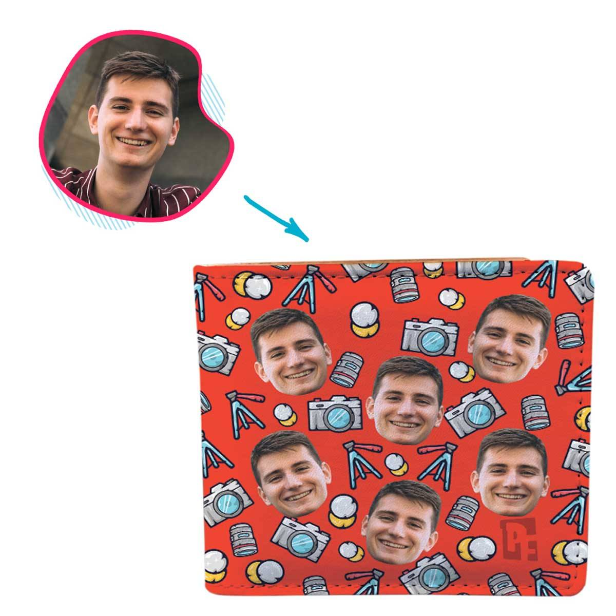 red Photography wallet personalized with photo of face printed on it