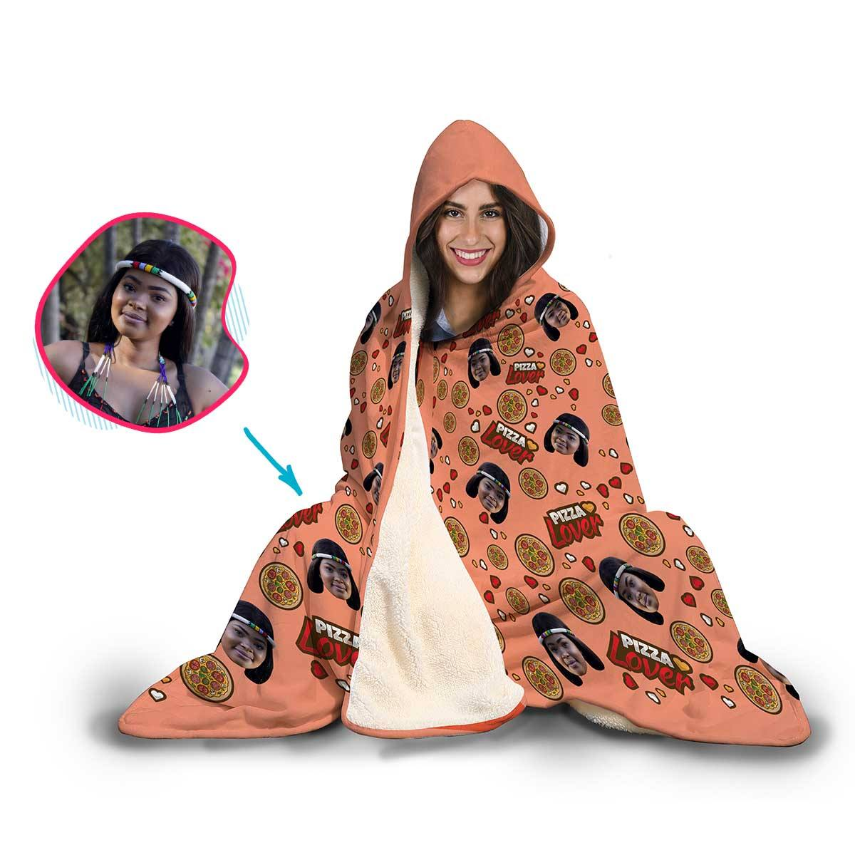 Pizza Lover Personalized Hooded Blanket