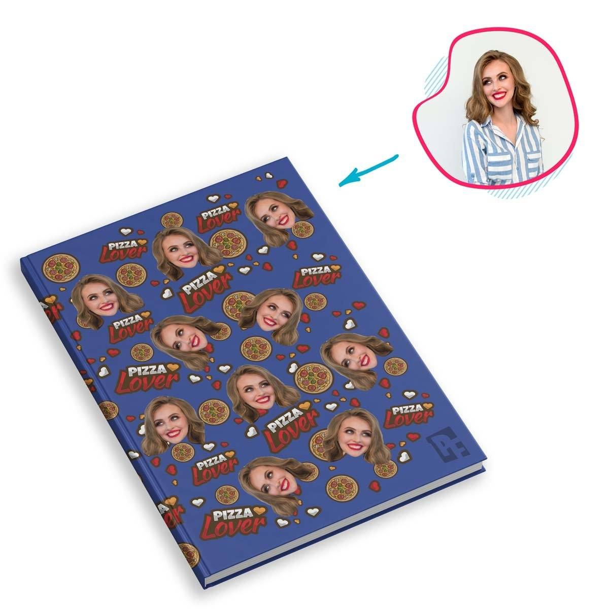 darkblue Pizza Lover Notebook personalized with photo of face printed on them