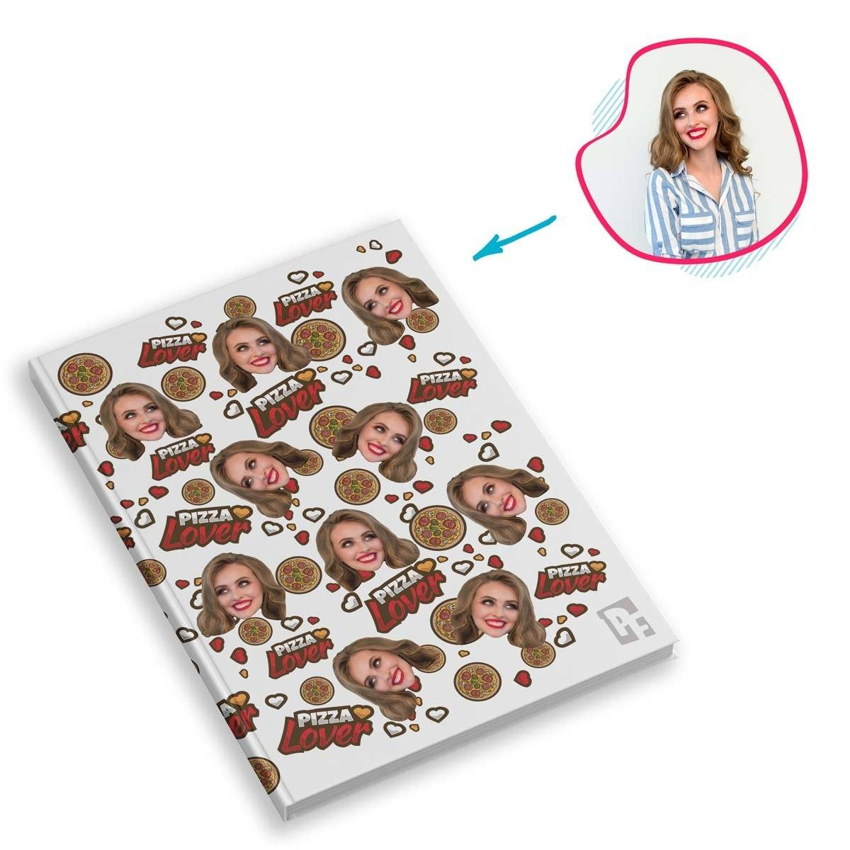 white Pizza Lover Notebook personalized with photo of face printed on them