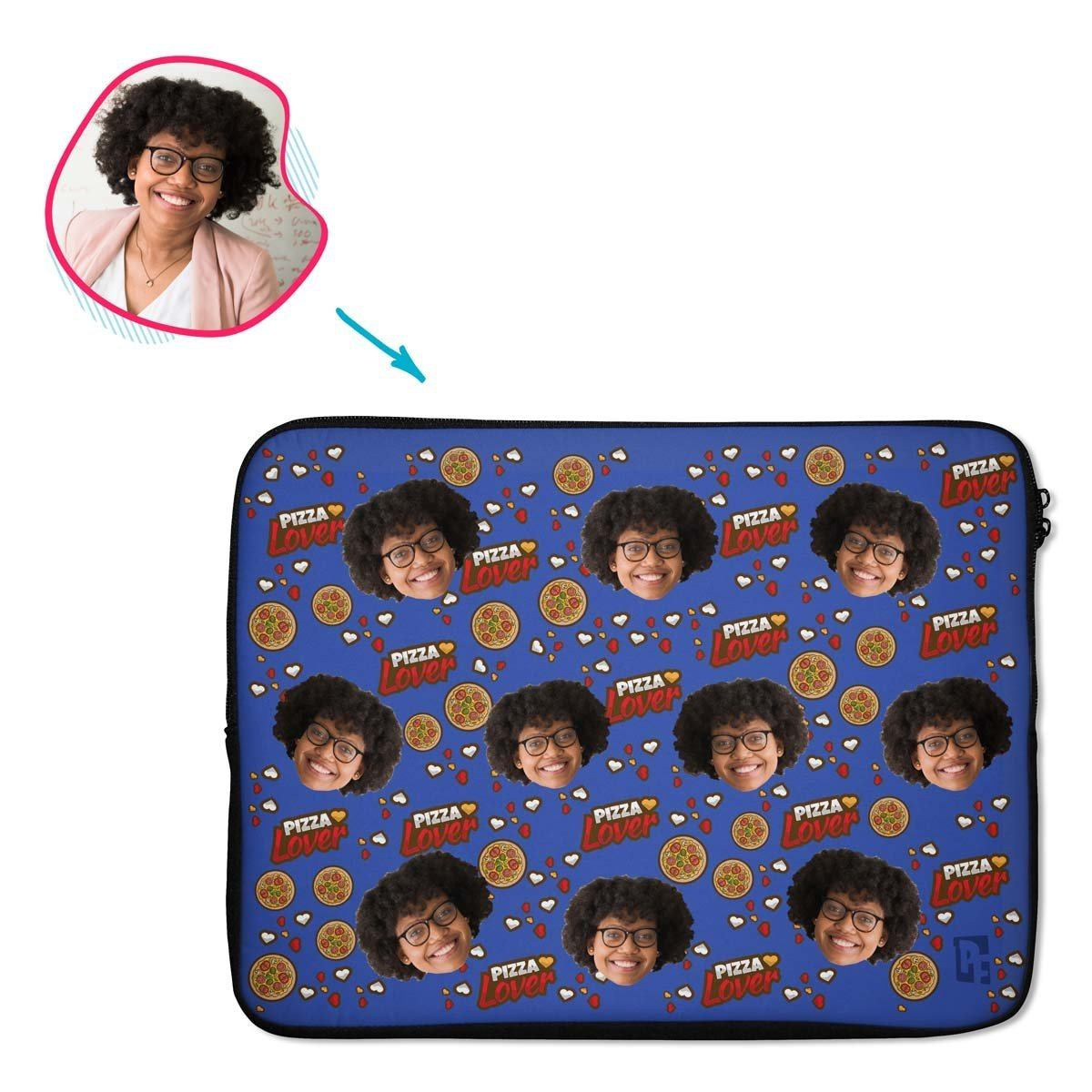 darkblue Pizza Lover laptop sleeve personalized with photo of face printed on them